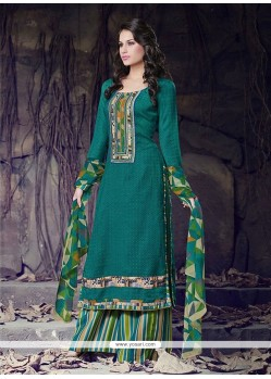 Bewitching Teal Lace Work Cotton Designer Palazzo Suit