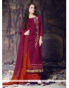 Renowned Cotton Maroon Designer Palazzo Salwar Suit