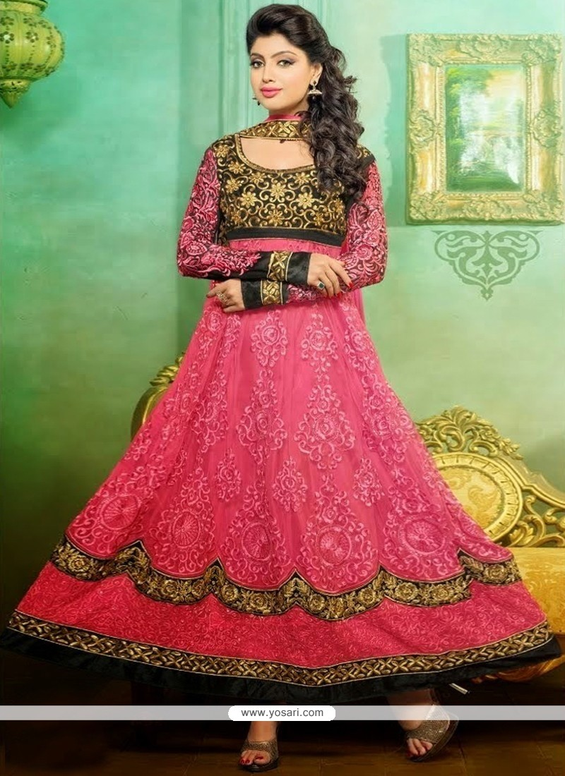 Invigorating Pink Resham Work Anarkali Suit