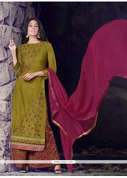 Mystic Green Lace Work Cotton Designer Palazzo Salwar Kameez