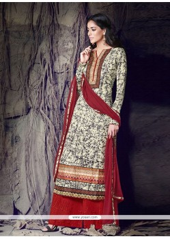 Exquisite Cream Cotton Designer Palazzo Suit