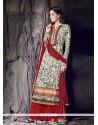 Exquisite Cream Cotton Designer Palazzo Suit