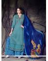 Hypnotic Print Work Blue Designer Palazzo Salwar Suit