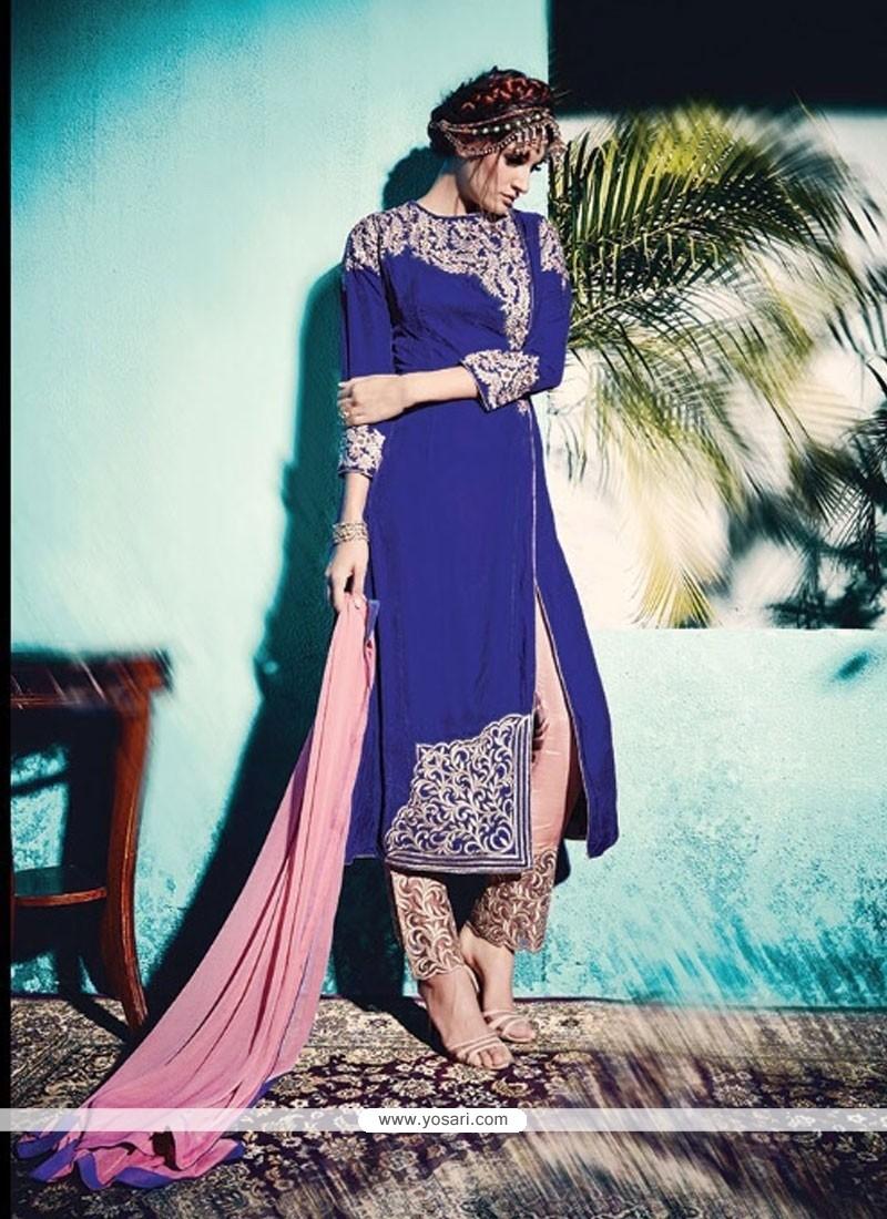 Aesthetic Zari Work Velvet Blue Pant Style Suit