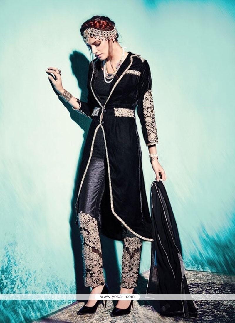 Delectable Lace Work Black Velvet Pant Style Suit