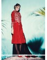 Titillating Velvet Red Embroidered Work Pant Style Suit