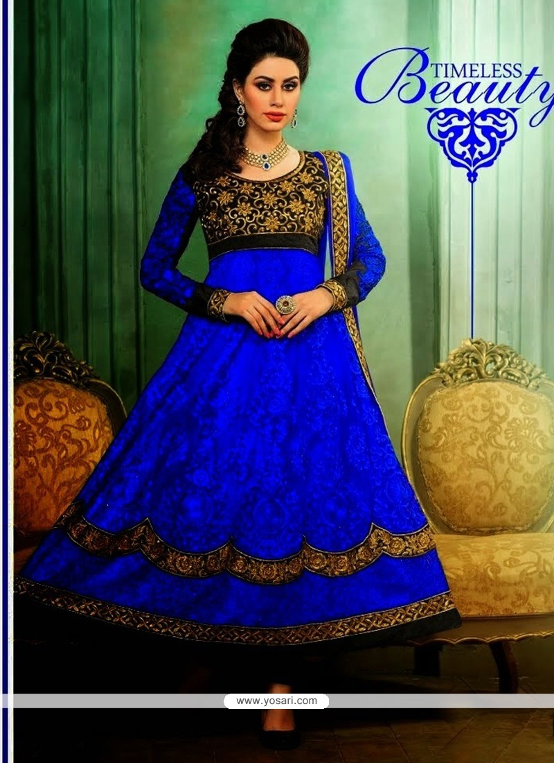 Navy Blue Net Anarkali Suit