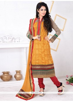 Staring Jacquard Embroidered Work Churidar Salwar Suit