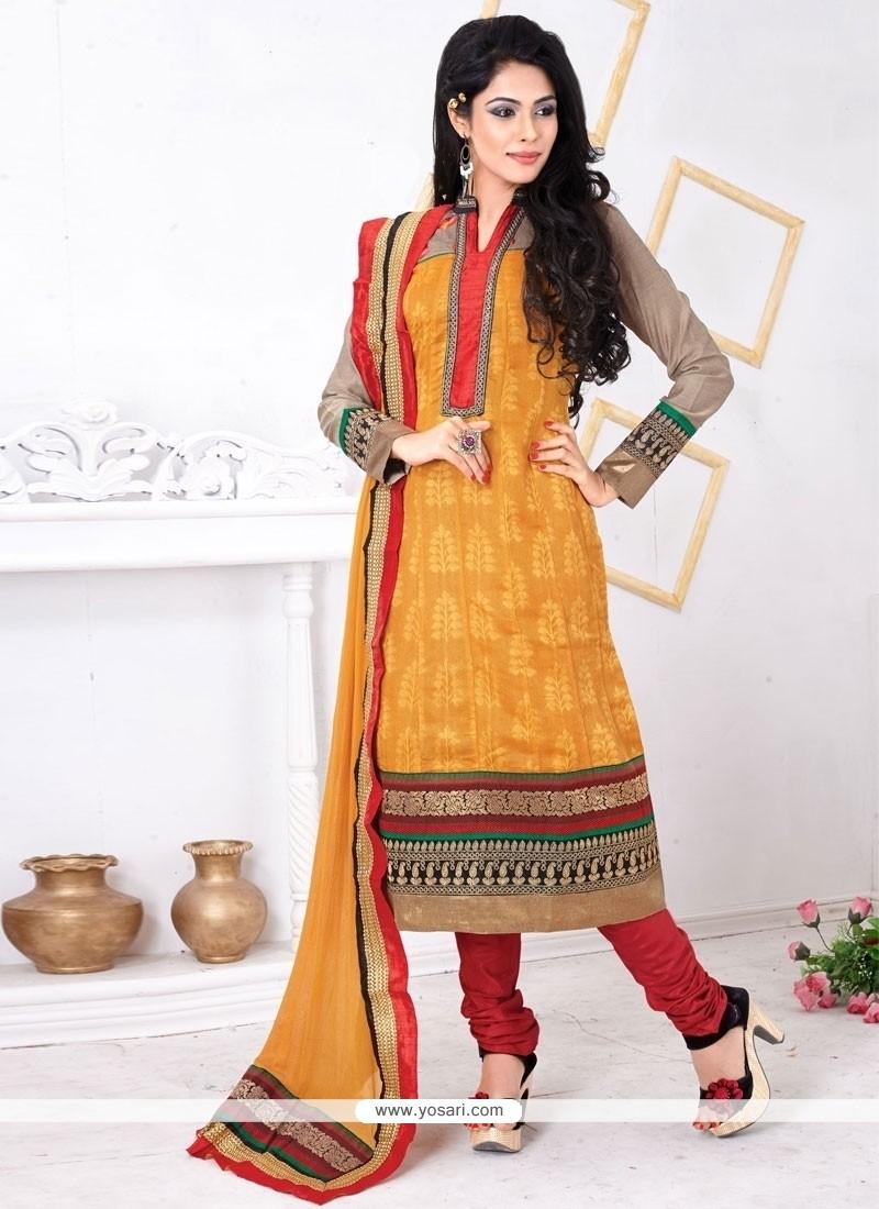 Staring Jacquard Embroidered Work Churidar Salwar Suit