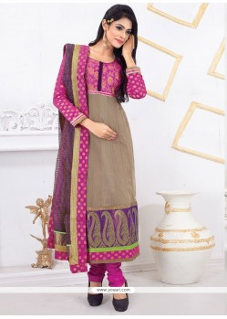 Delectable Chanderi Cotton Cream Embroidered Work Designer Straight Salwar Kameez