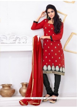 Striking Embroidered Work Chanderi Cotton Churidar Designer Suit