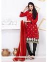 Striking Embroidered Work Chanderi Cotton Churidar Designer Suit