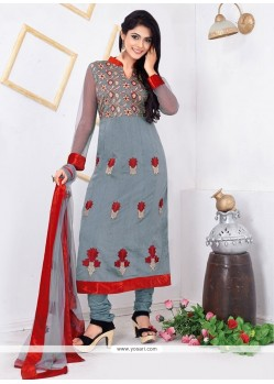 Simplistic Grey Chanderi Cotton Churidar Salwar Suit