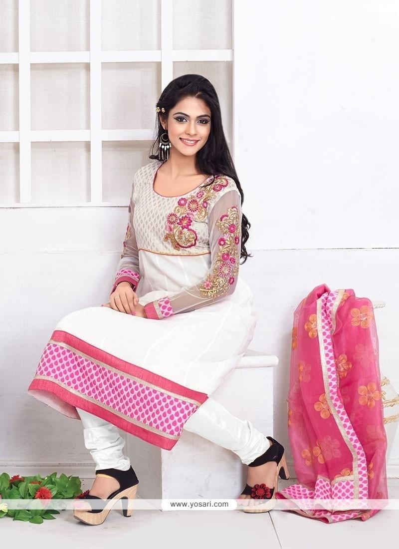 Fascinating Lace Work White Churidar Salwar Kameez