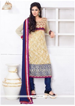 Scintillating Cream Embroidered Work Chanderi Churidar Salwar Kameez