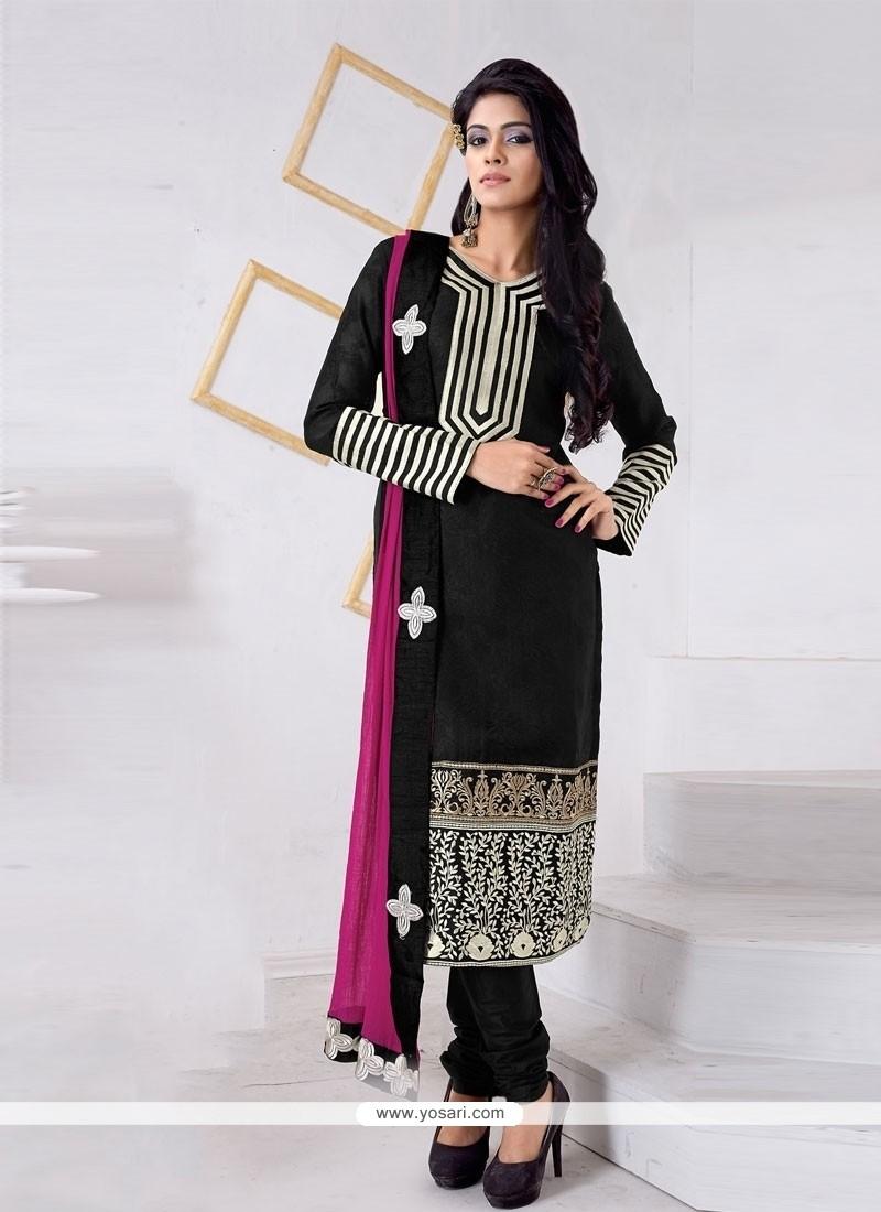 Blissful Jacquard Black Churidar Designer Suit
