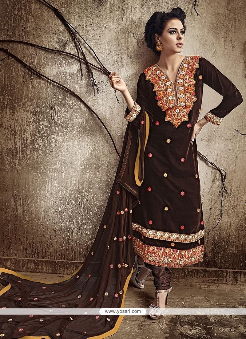 Sparkling Velvet Brown Designer Straight Salwar Kameez