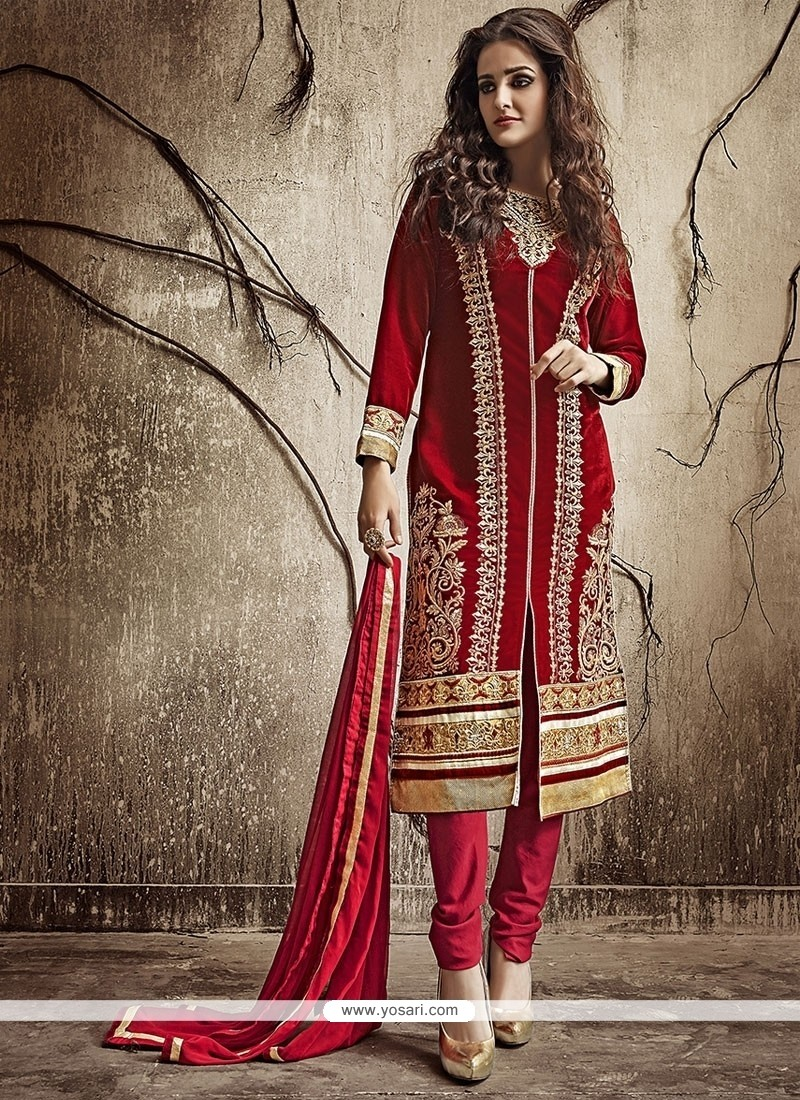 Magnificent Lace Work Velvet Churidar Salwar Suit