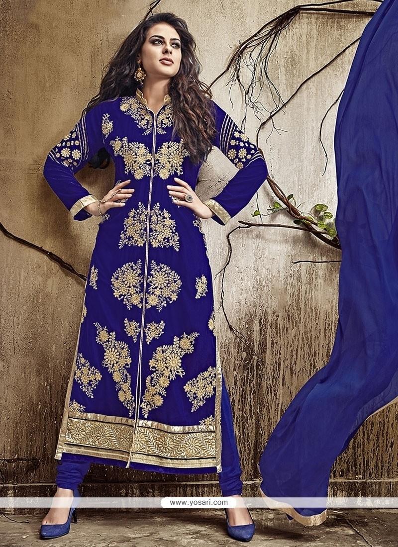 Lustre Embroidered Work Blue Designer Straight Salwar Kameez