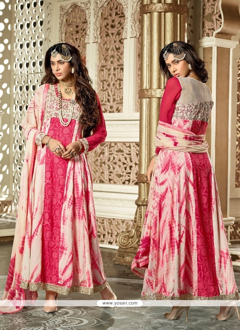 Prepossessing Lace Work Hot Pink Net Anarkali Salwar Suit
