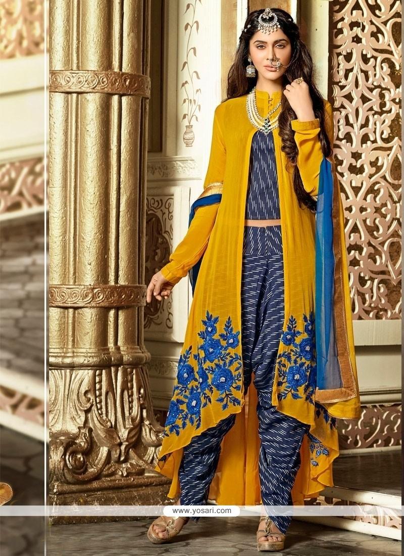 Majestic Embroidered Work Blue Designer Salwar Kameez