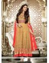Charismatic Beige Lace Work Net Anarkali Salwar Suit