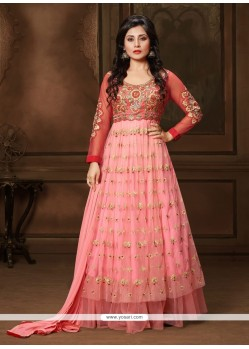 Beguiling Net Resham Work Anarkali Suit