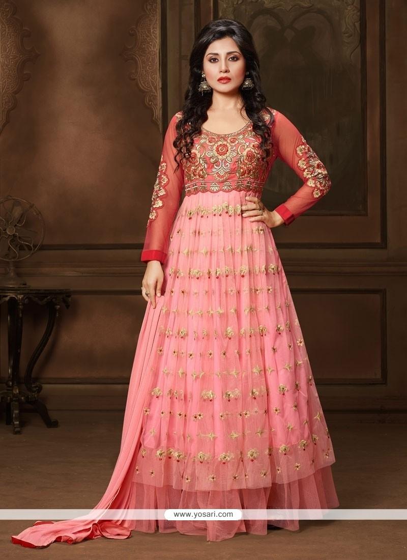 Beguiling Net Resham Work Anarkali Suit
