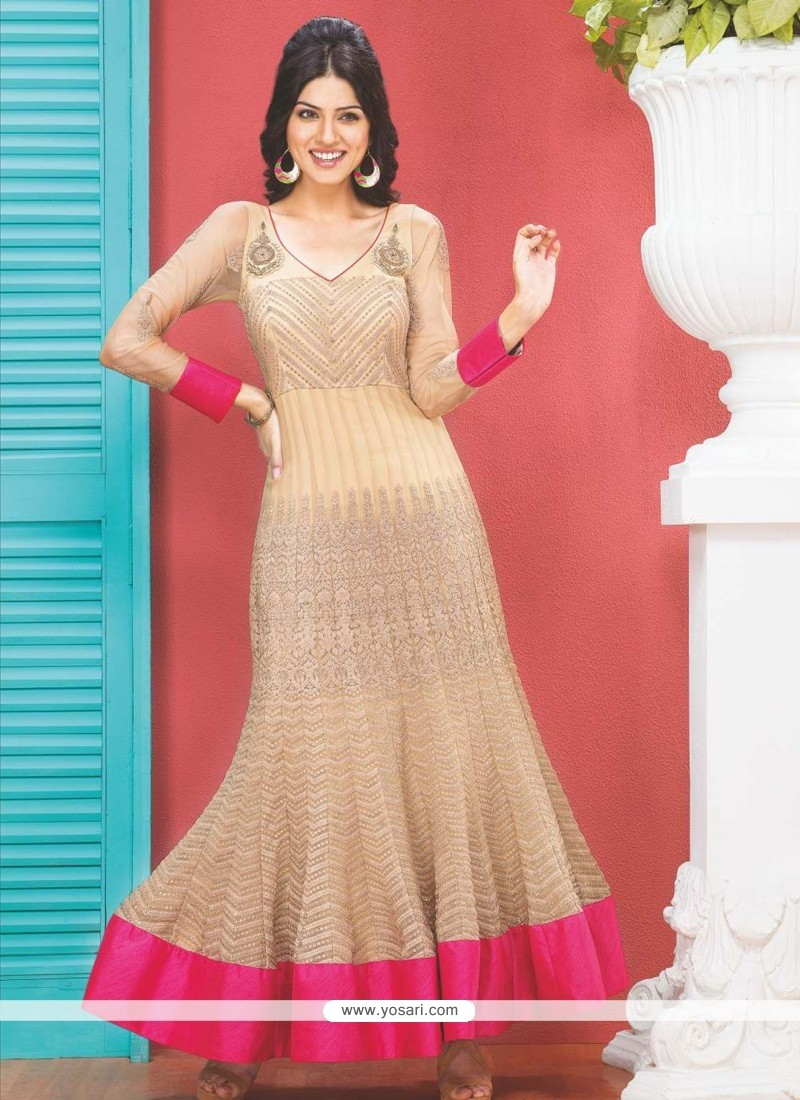 Beige Resham Work Anarkali Suit
