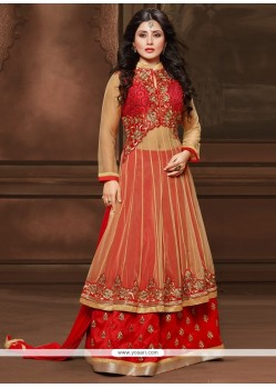 Dashing Cream And Red Resham Work Designer Salwar Kameez