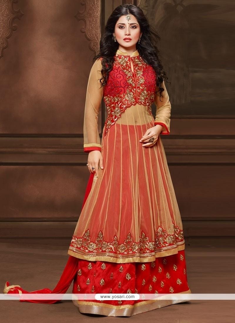 Dashing Cream And Red Resham Work Designer Salwar Kameez