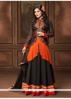 Glitzy Embroidered Work Georgette Black Designer Salwar Suit