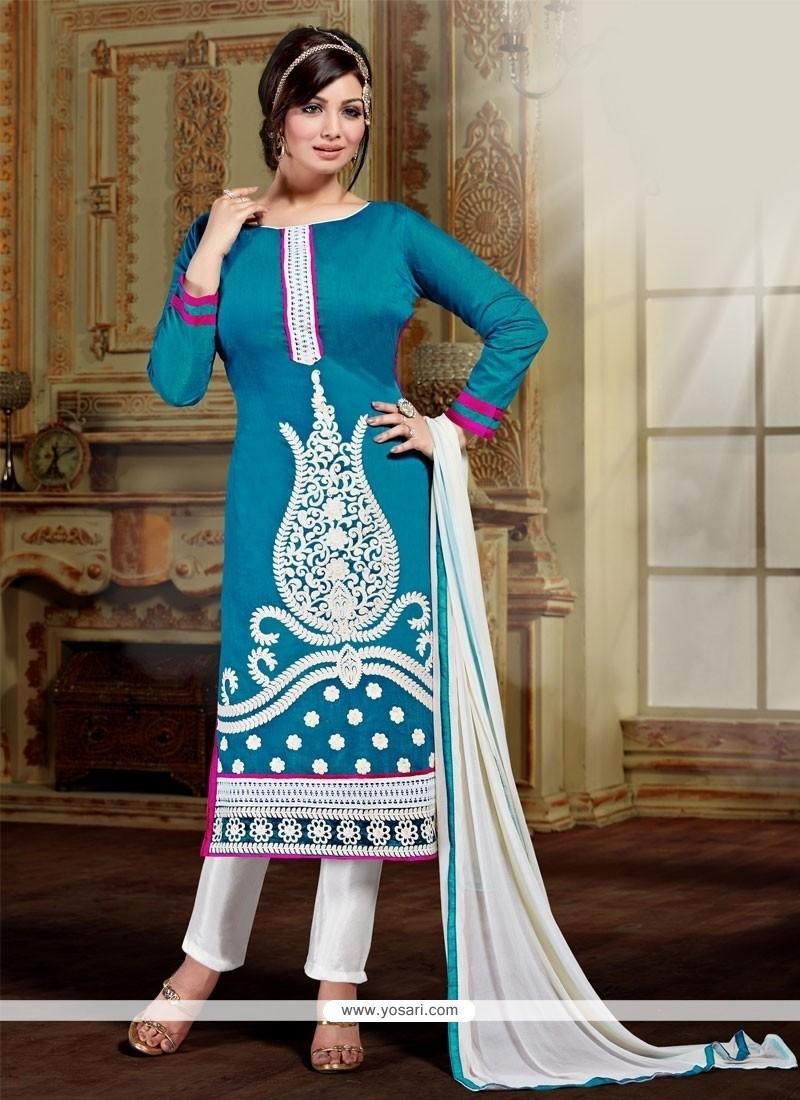 Refreshing Resham Work Blue Silk Designer Straight Salwar Kameez
