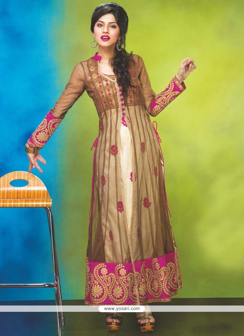 Brown And Cream Net Anarkali Suit