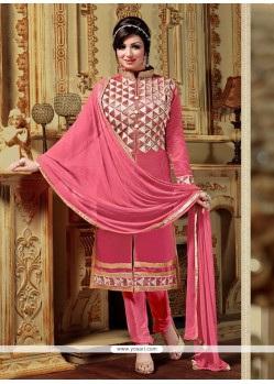 Girlish Chanderi Resham Work Designer Straight Salwar Suit