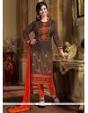 Gleaming Silk Lace Work Designer Straight Salwar Kameez