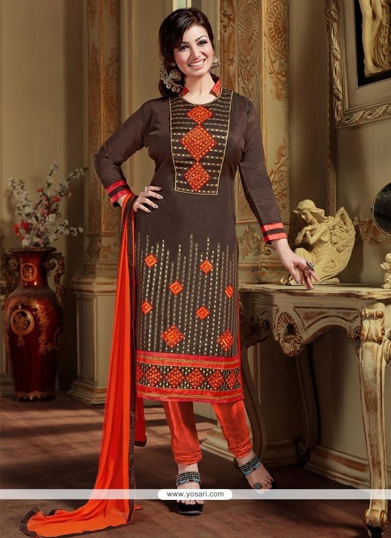 27723977c4 Shop online Gleaming Silk Lace Work Designer Straight Salwar Kameez