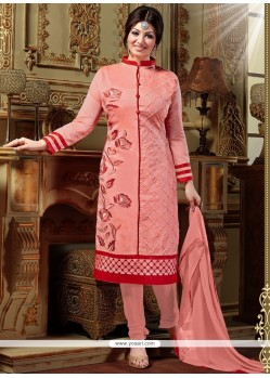 Lustre Resham Work Silk Peach Designer Straight Salwar Kameez