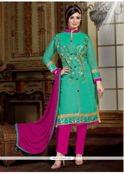 Praiseworthy Resham Work Designer Straight Salwar Kameez
