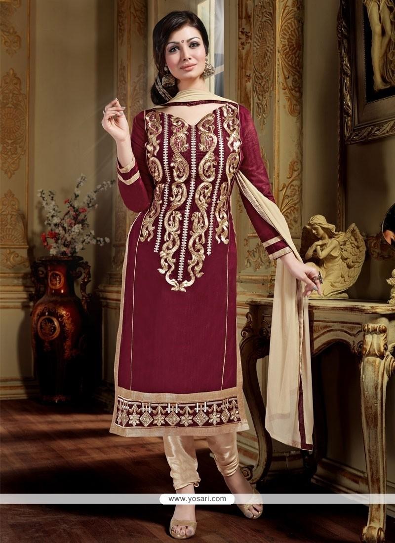 Dazzling Chanderi Maroon Designer Straight Salwar Kameez