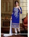 Snazzy Blue Lace Work Chanderi Designer Straight Salwar Kameez