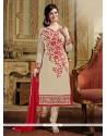 Gorgonize Beige Resham Work Chanderi Designer Straight Salwar Suit