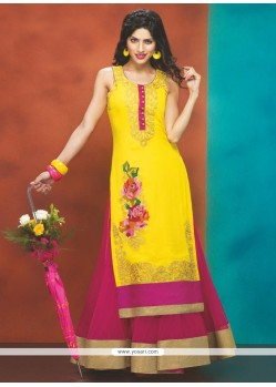 Magenta And Yellow Georgette Anarkali Suit