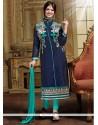 Vivacious Chanderi Blue Lace Work Designer Straight Salwar Kameez