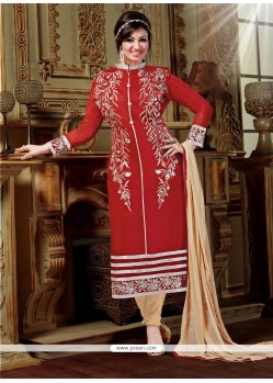 Enticing Red Designer Straight Salwar Kameez
