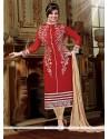 Enticing Red Designer Straight Salwar Kameez
