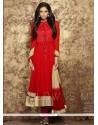 Dilettante Lace Work Faux Chiffon Anarkali Salwar Suit