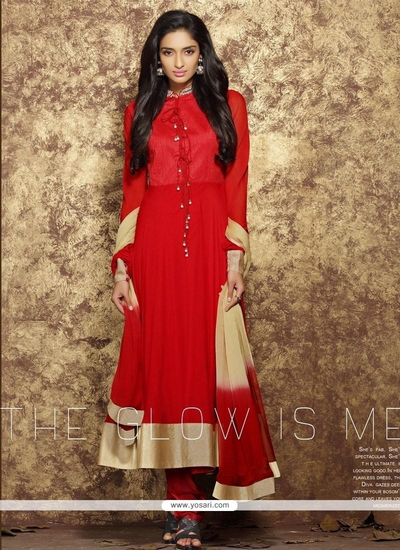 3ef93f0711 Shop online Dilettante Lace Work Faux Chiffon Anarkali Salwar Suit