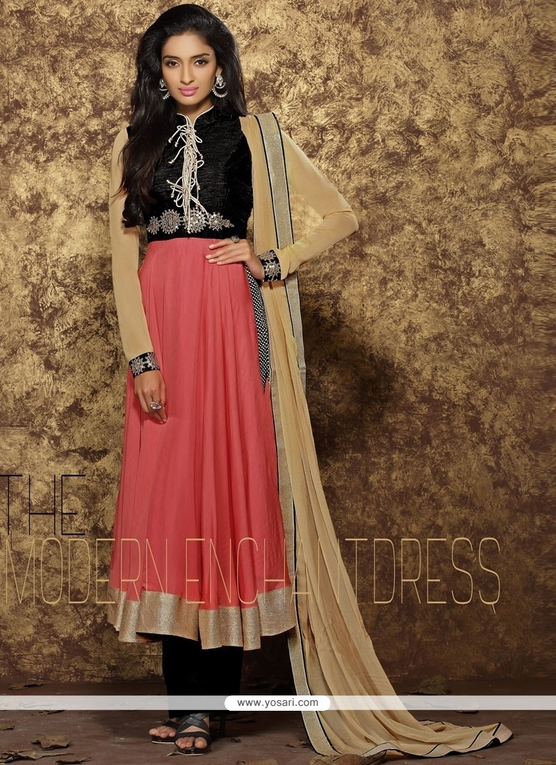 Exotic Pink Resham Work Anarkali Salwar Suit