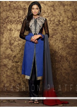 Sorcerous Embroidered Work Blue Designer Pakistani Suit